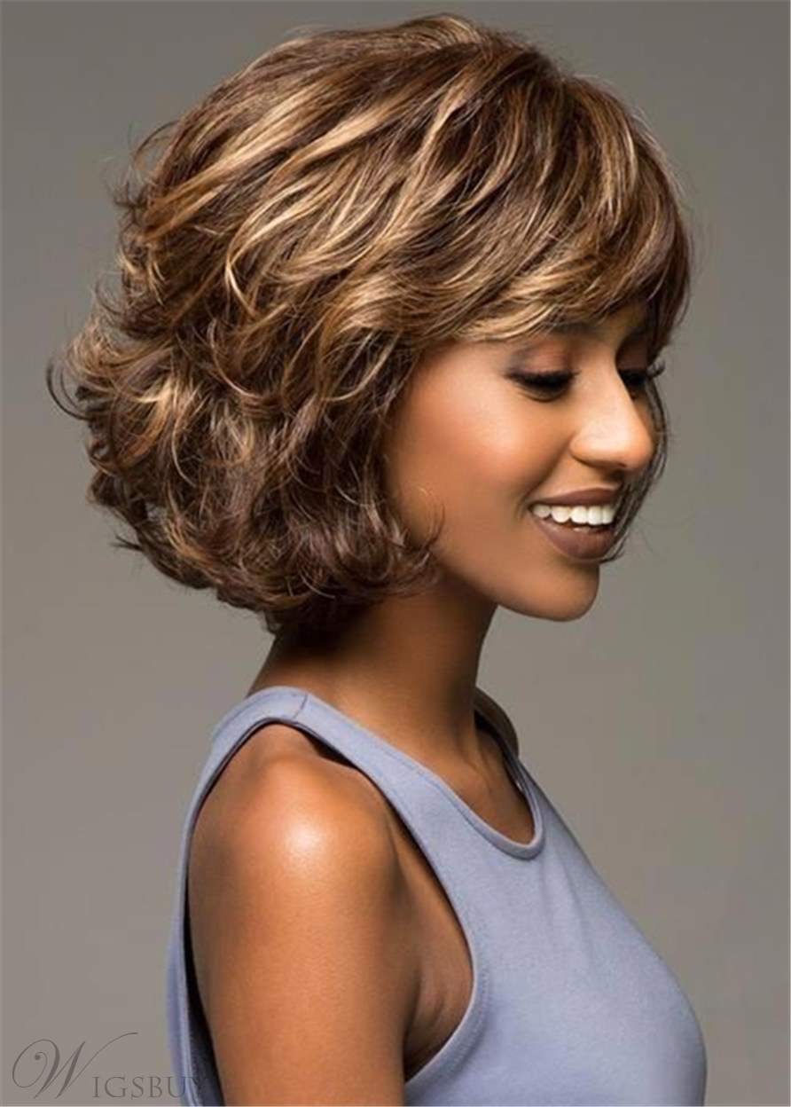 Medium Bob Hairstyles Human Hair Wavy Wig 14 Inches