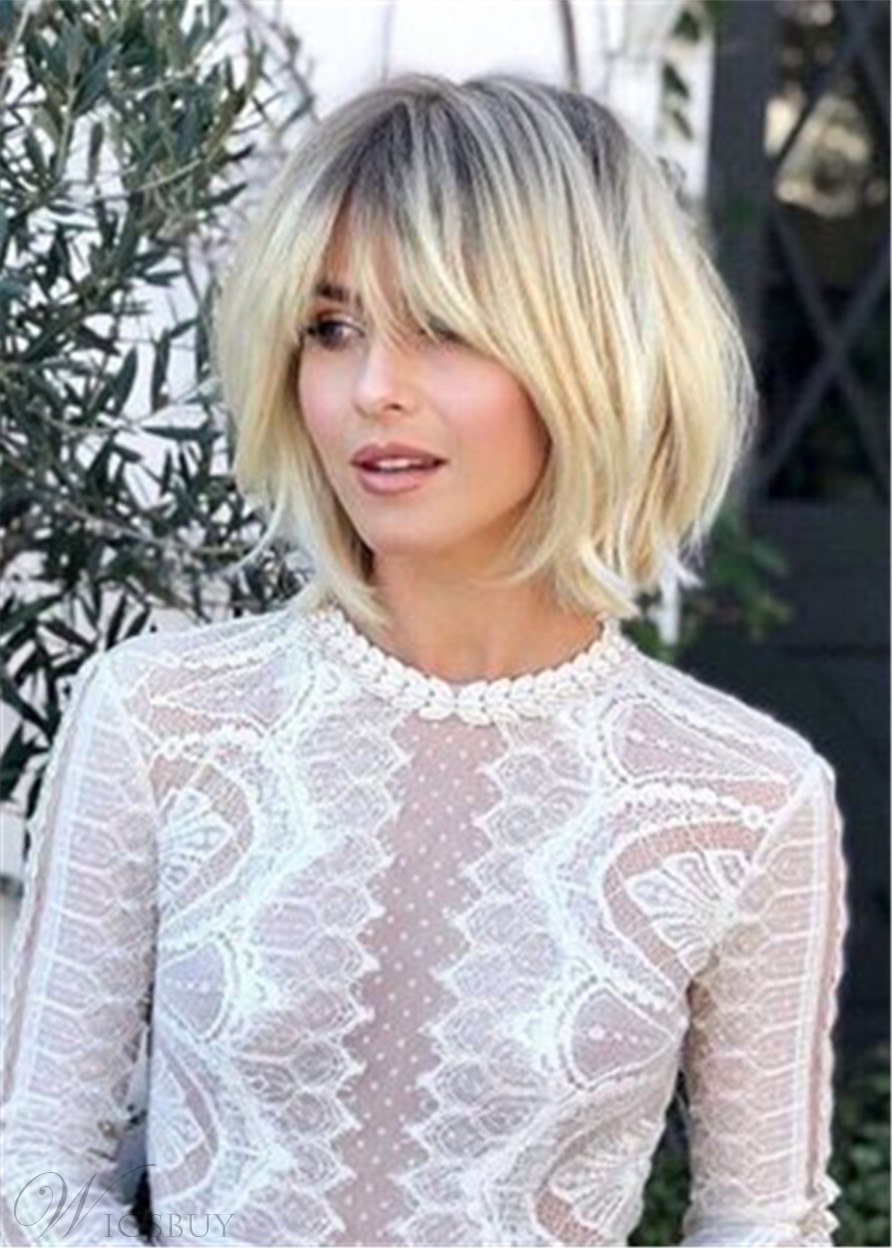 Shagg Bangs Bob Wavy Human Hair Wigs 14 Inches