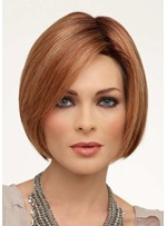 Short Bob Hairstyles Women's Middle Part Straight Human Hair Wigs Lace Front Wigs 10Inch