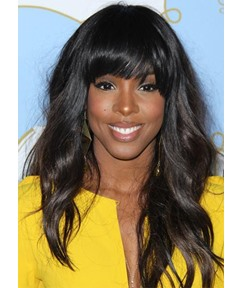 Natural Looking Women's Long Wave Body Wavy Human Hair Wigs With Bangs Lace Front Wigs 22Inch