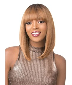 Medium Bob Hairstyles Women's Natural Straight Human Hair Wigs Lace Front Wigs With Bangs 16Inch
