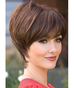 Elegant Women's Pixie Cut Bob Hairstyles With Bangs Straight Human Hair Wigs Lace Front Wigs 8Inch
