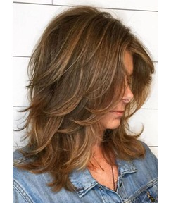 Fantastic Women Layered Shaggy Hairstyles Wavy Texture Synthetic Hair Lace Front Cap Wigs 22Inch
