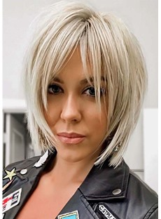 Women's Short Shaggy Layered Hairstyles Blonde Color Straight Synthetic Hair Capless Wigs 12Inch