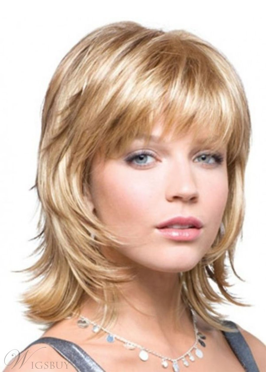Shaggy Hairstyles for Women's Wavy Style With Bangs Synthetic Hair Capless Wigs 14inch
