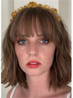 Medium Shaggy Bob Synthetic Hair With Bangs Women Wig 14 Inches