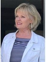 Short Bob Hairstyle Wavy Human Hair With Bangs For Old Women Wig