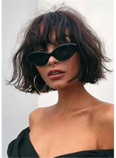 Short Wavy Human Hair Bob Wig With Bangs Women Wig 14 Inches