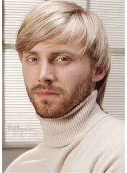 Short Full Lace Blonde With Bangs Human Hair Wigs For Men 10 Inches