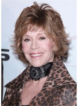 Jane Fonda Hairsty Short LayeredWavy Human Hair Wig 12 Inches