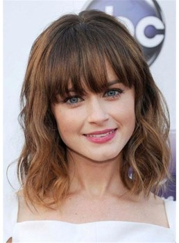 Fringe Hairstyles Medium Bob Synthetic Hair Wig For Women