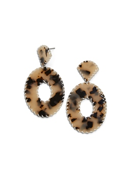 Women/Ladies Audlt European Style Leopard Pattern Acrylic E-Plating Drop Earrings