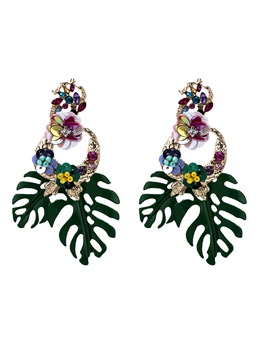 Bohemian Style Audlt Women/Ladies Floral Pattern Alloy Diamante Technic Drop Earrings