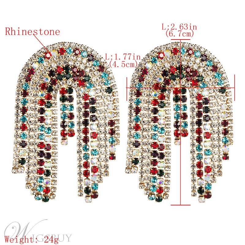 Sweet Style Women/Ladies Color Block Pattern Diamante Technic Rhinestone Drop Earrings