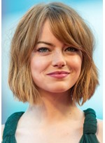 Women's Short Bob Hairstyles with Bangs Side Part Wavy Synthetic Capless Wigs 12Inch