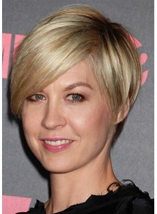 Women's Short Hairstyles for Fine Hair Pixie Cut Side Part Straight Synthetic Hair Capless Wigs 8Inch