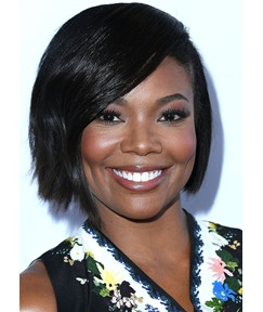 Women's Short Bob Hairstyles Gabrielle Union Side Part Style Straight Human Hair Lace Front Wigs 12Inch