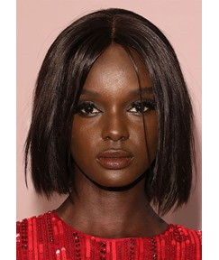 Duckie Thot Straight Middle Part Bob Hairstyles Women's Short Bob Style Human Hair Lace Front Wigs 14Inch