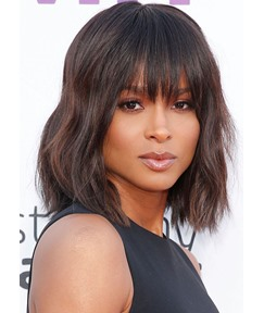 Ciara Short Layered Hairstyles Women's Celebrity Hairstyles Wavy Human Hair Lace Front Wigs 14Inch