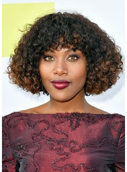 DeWanda Wise Curly Bob Hairstyles Women's Afro Curly Human Hair Wigs With Bangs Lace Front Cap Wigs 16Inch
