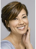 Women's Human Hair Straight Wig Short Layered Hairstyles For Women Over 50