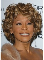Whitney Houston Hairstyle Short Curls Human Hair Women Wig 12 Inches