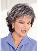 Salt and Pepper Hairstyle Medium Bob Layered Straight Synthetic Wig 12 Inches