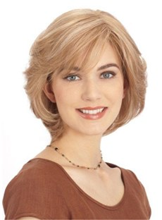 Medium Bob Style Wigs Synthetic Hair Natural Straight Women Wig 12 Inches