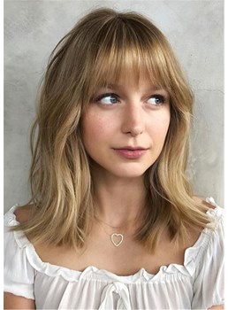 Long Bob Wavy Human Hair With Fringe Wig 16 Inches