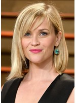 Reese Witherspoon Shoulder Length Layered Hairstyles Women's Straight Human Hair Lace Front Wigs 18Inch
