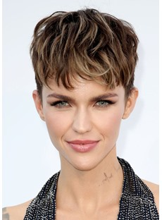 Ruby Rose Pixie Cut Hairstyles Women's Short Layered Bangs Straight Synthetic Hair Lace Front Wigs 6Inch