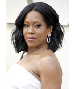 Regina King Middle Part Short Layered Hairstyles Women's Wavy Synthetic Hair Capless Wigs 14Inch
