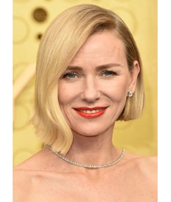 Women's Side Part Naomi Watts Hairstyles Short Bob Natural Straight Synthetic Hair Capless Wigs 12Inch