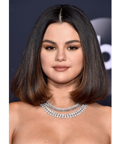 Middle Part Selena Gomez Medium Bob Hairstyles Women's Straight Human Hair Lace Front Wigs 16Inch
