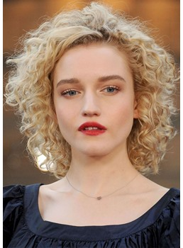 Julia Garner Afro Curly Hairstyles Women's Blonde Color Curly Synthetic Hair Lace Front Wigs 16Inch