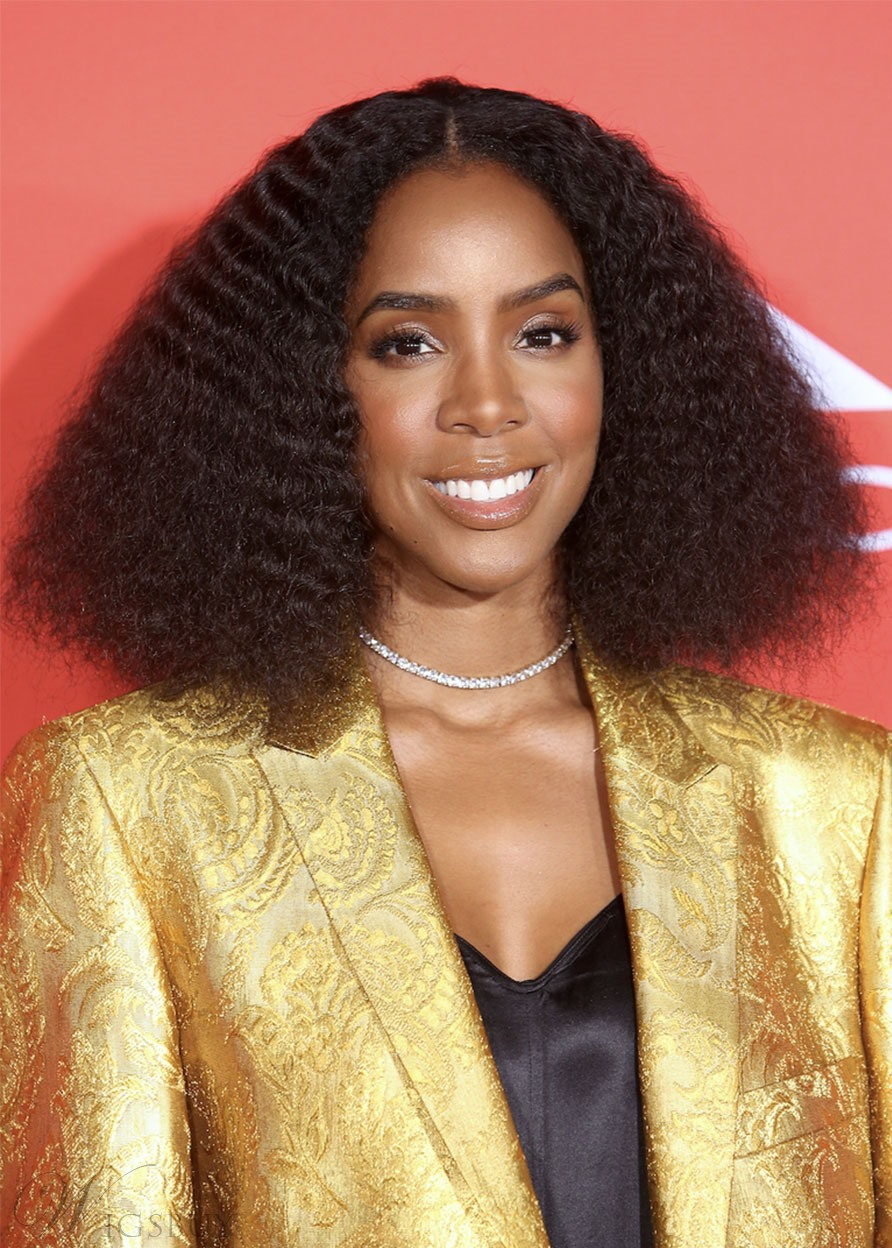 Kelly Rowland Women's Afro Curly Middle Part Human Hair Wigs Lace Front Cap Wig 20Inch