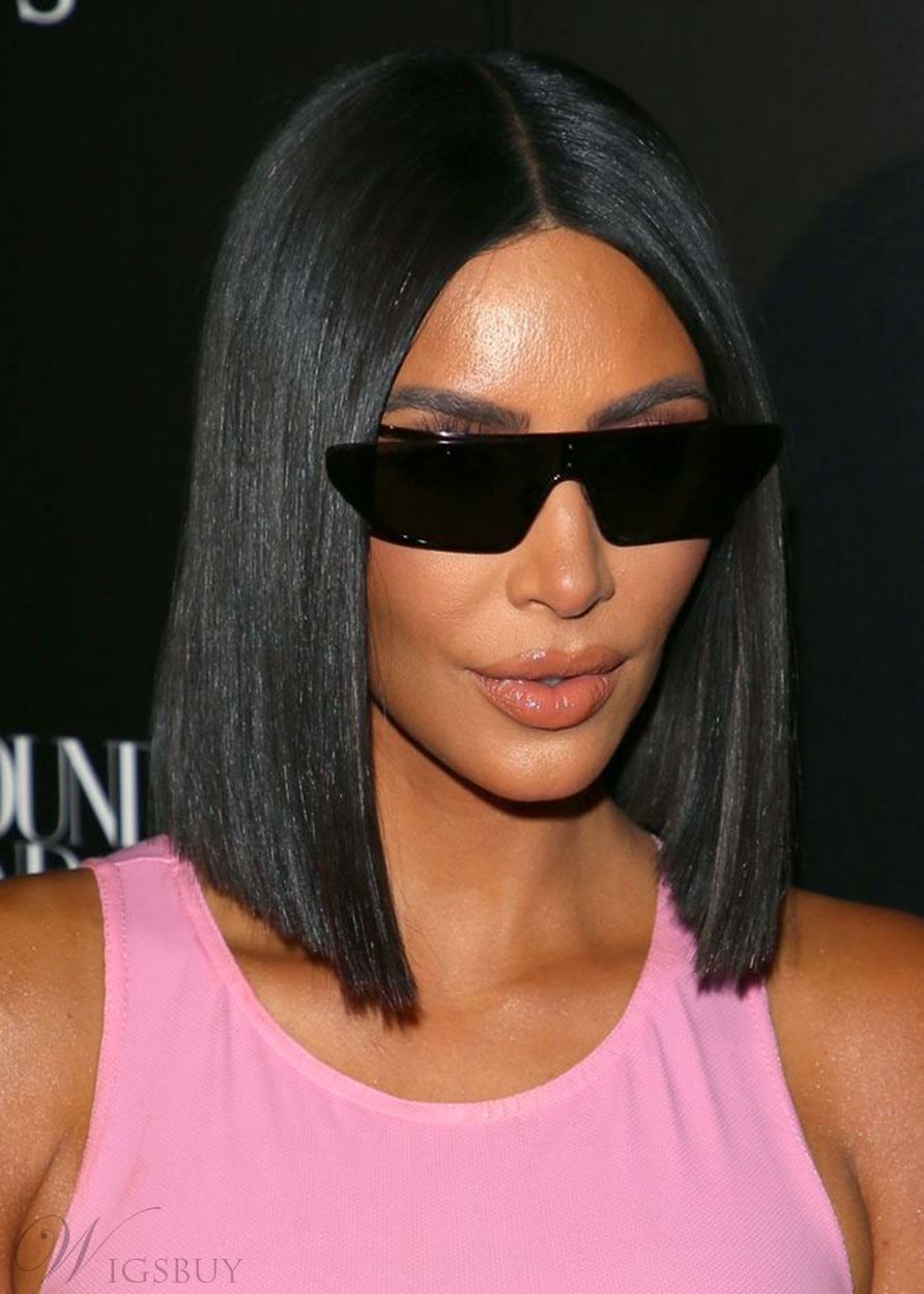 Kim Kardashian West Middle Part Straight Bob Hairstyles Women's Human Hair Lace Front Cap Wigs 16Inch