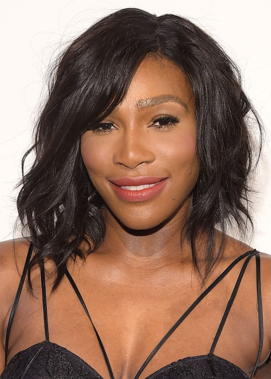Serena Williams Side Part Layered Hairstyles Women Wavy Human Hair Lace Front Cap Wigs 16Inch