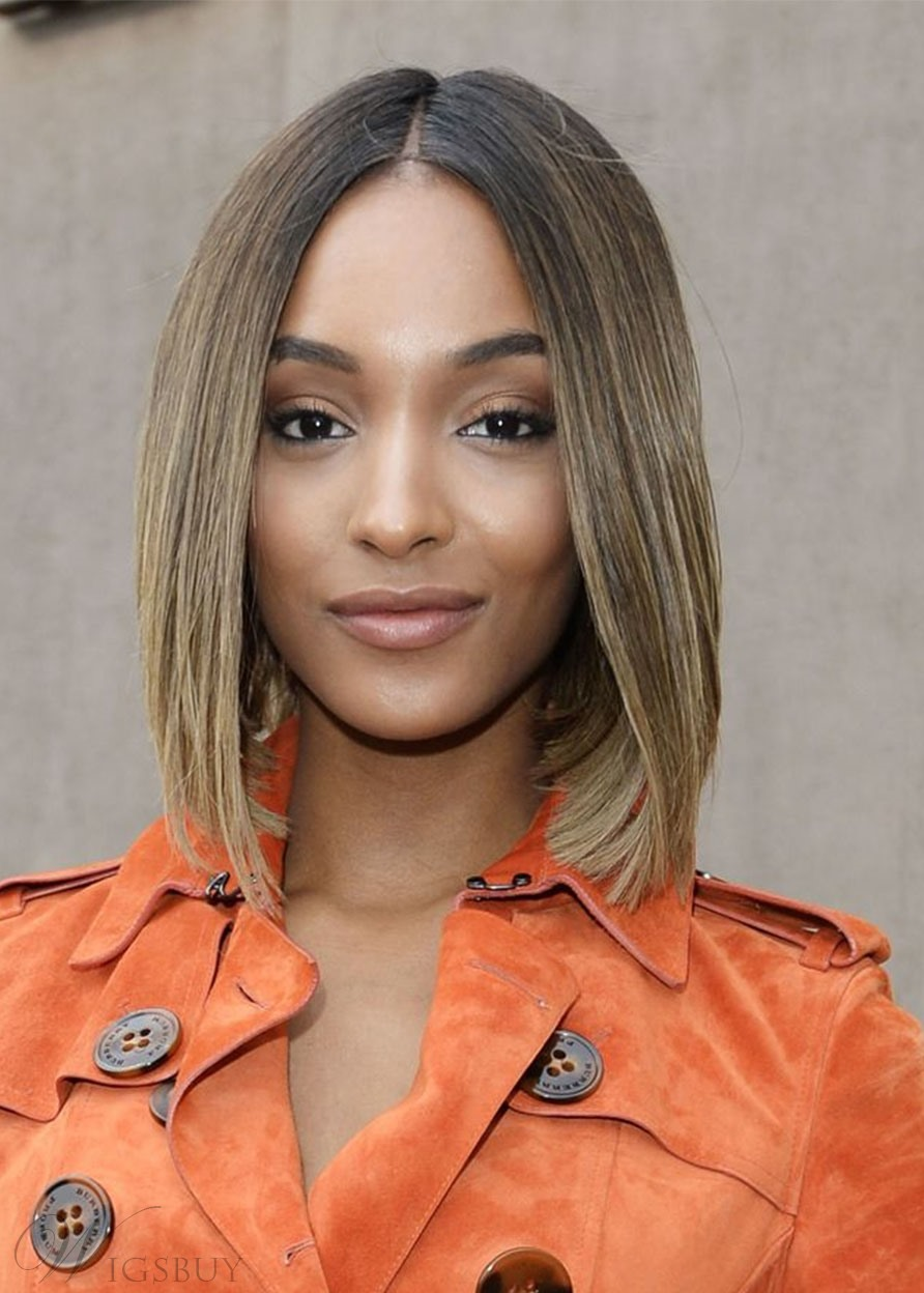 Jourdan Dunn Middle Part Bob Hairstyles Women's Straight Bob Style Synthetic Hair Capless Wigs 16Inch