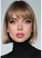 Top Bob Haircut Straight Synthetic Hair Women Wig 14 Inches