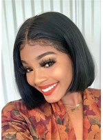 Lace Front Bob Hairstyle Synthetic Hair Straight Middle Part Women Wig 12 Inches