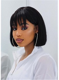 Medium Fringe Bob Synthetic Hair Natural Straight WIth Bangs 12 Inches