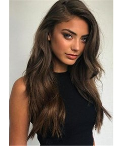 Side Part Long Wavy Human Hair Women Wig 24 Inches