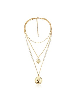 Women/Ladies Sweet Style Alloy E-Plating Technic Link Chain Type Pendant Necklace For Wedding/Party