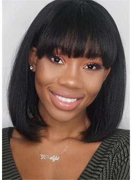 MediumStraight Human Hair Bob Wigs With Bangs 14 Inches For African American Womens