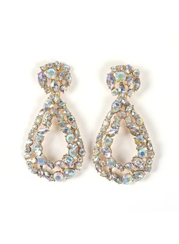 African American Women/Ladies Romantic Style Diamante Technic Alloy Material Drop Earrings