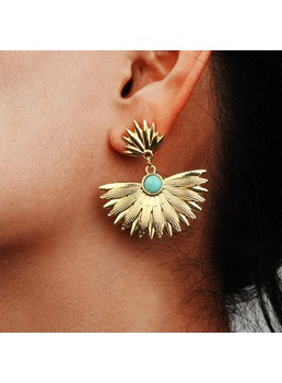 Sexy Women Ladies Bohemian Style Adult Gemmed Technic Alloy Material Drop Earrings