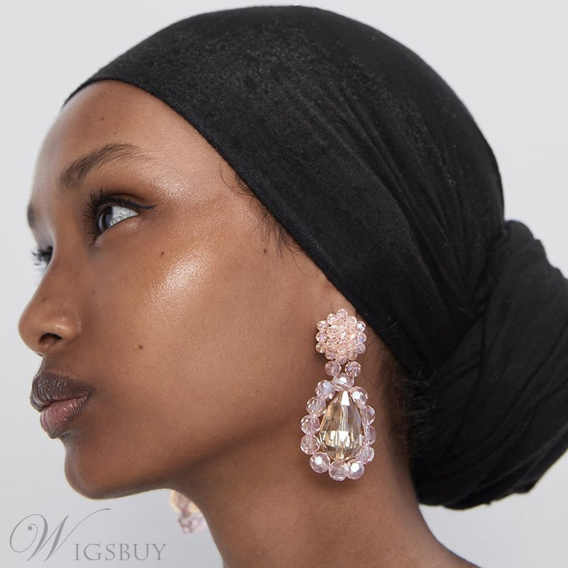 African American Women's Sweet Style Adult Plastic Material E-Plating Technic Drop Earring