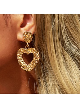 Adult Women's Sweet Style Alloy E-Plating Technic Heart Shaped Pattern Drop Earrings