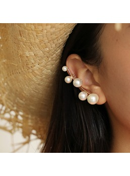 Wedding/Party/Gift Women's Sweet Style Alloy Pearl Inlaid Technic Stud Earrings